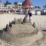 Sand sculpture facing Hotel del