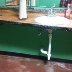 Real cedar counter top in ladies room