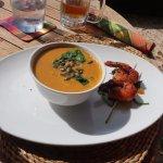 Spiced pumpkin soup and king prawns