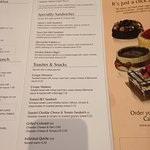 Sample page from menu