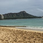 View of Diamond Head from the hotel beach.