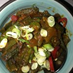 Bhindi Masaledar: Okra, tomatoes, onion and sun dried spices. OMG.
