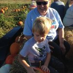 Pumpkins chosen and ready to go back on the hay ride.