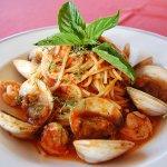 "Spaghetti ""Frutti di mare"" with fresh San Blas shrimp, steamed Baja clams and a fresh marinara s"