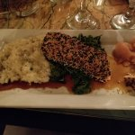 Yummy salmon encrusted with sesame seeds and risotto with kale. Fabulous