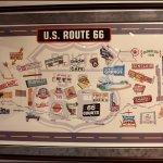 "Route 66 Mural, ""Stops along the Way"" Loaned by Kirk & Tina Johnson, Inside Bridgehead Inn Visit"