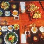 Sushi rolls and sashimi don