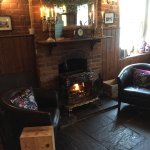 Nice log fire in the bar area.