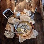British baked Tunworth cheese with English Sparkling wine