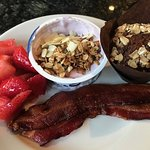 Breakfast was good. Nice assortment of hot and cold items and fresh strawberries and homemade gr