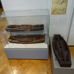 Deer traps from the marshes, on left are actuals, on right is a replica