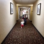 The little ones enjoyed the long hallways.