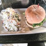 Fired oyster sandwich and lots of cole slaw