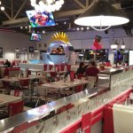 A very large restaurant with good food and service