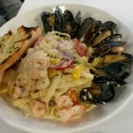 My husbands meal, which he loved. Was Seafood fettuccine,