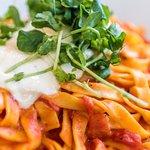 Tomato and pesto tagliatelli