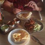 Popadom and onion bhaji starters!