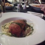 Stuffed chicken with wilted spinach and spaghetti