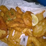 Potato is half battered and thin,chips would,habe been nice if fresh and hot. No taste,oily
