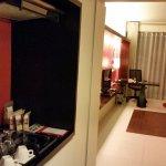 """Regular"" room's stocked mini-bar, stove, microwave"