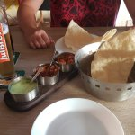 Popadoms and pickle tray