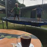 A great coffee shop with a trampoline to de-bean two little boys.  Great service, great coffee,