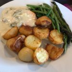 "fantastic salmon and roast potatoes with garlic asparagus ""Salmon Says Eat Your Greens"" followed"