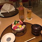 Everything you desire: Perfect Chirashi Sushi plus Kingfisher Beer