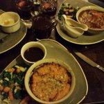 Lentil cottage pie with sweet potato mash, veg and gravy