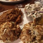 Crab Cakes, Mashed Sweets, and Cole Slaw
