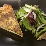 Turkey quiche with soup of the day for $11.75