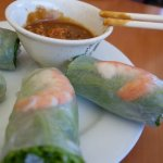 - fresh shrimp spring rolls with peanut sauce is always a delight at Kim Huong