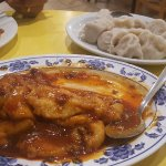 fish in spicy bean black sauce and beef dumplings at Shandong