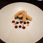 Salmon tempura, sesame wakame, squid ink mayonnaise, salmon roe