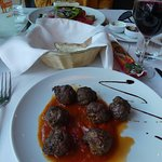 Our starters, meatballs and salad