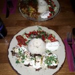 Lamb kebabs, mint yogurty stuff, rice and interesting salad, Mousaka in the back ground - ALL GO