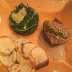 Grass fed tenderloin with peppercorn sauce, sauteed swiss chard and artichokes and roasted potat