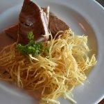 Seared Tuna accompanied by Pasta