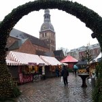 Christmas market outside Riga cathedral