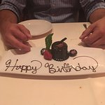Happy Birthday complimentary chocolate dessert