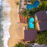 Photo of the hotel beach and pool from our drone