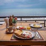 American breakfast and banana pancake breakfast at the resort