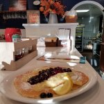 Special Homemade Lemon Ricotta Pancake with a blueberry compote