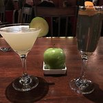 cucumber gimlet and bourbon bubble
