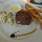 Center Cut Filet with Truffle Fries and Mac and Cheese.