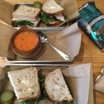 Club sandwiches with tomatoe bisque.