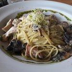 Creamy chicken mushroom basil pesto pasta
