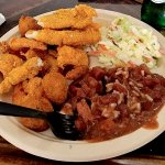 Fried Shrimp, Red Beans and Rice with Cole Slaw
