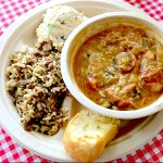 Chicken and Sausage Gumbo. Served over rice with a side of potato salad and bread.