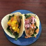 Jerk Chicken taco and Fried Oyster taco